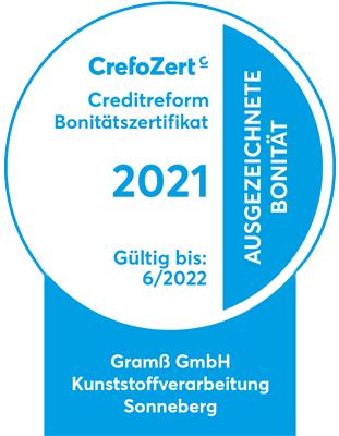 Creditreform Bonitätszertifikat 2020 - Ausgezeichnete Bonität